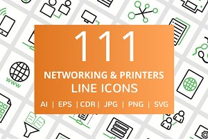111 Networking & Printers Line Icons