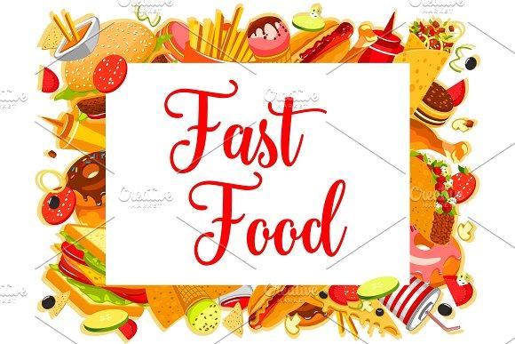 Fast Food Restaurant Burger And Drink Menu Poster
