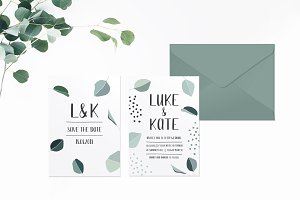 Green Leaves Wedding Invitation Suit