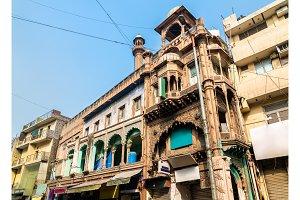 Historic mosque at Main Bazaar Road in Delhi, India