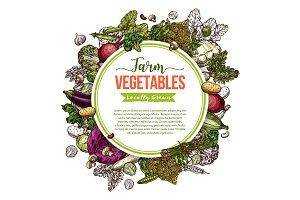Vegetable, mushroom and bean sketch frame poster