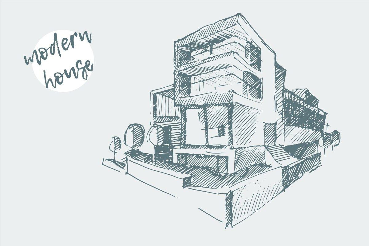 Architect Draft Of Modern House Illustrations Creative