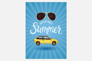 Summer typographic vintage poster.