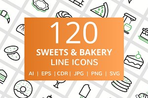 120 Sweets & Bakery Line Icons