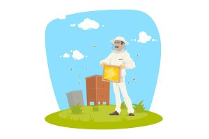 Beekeeper with honeycomb frame and honey icon