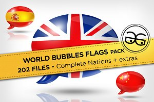 World Speech Bubbles Flags