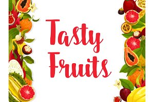Exotic fruit banner, edged by fresh tropical berry
