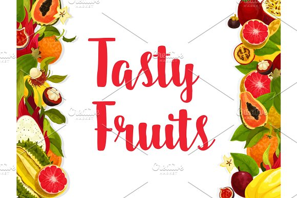 Exotic Fruit Banner Edged By Fresh Tropical Berry