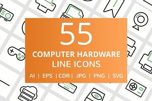 55 Computer & Hardware Line Icons
