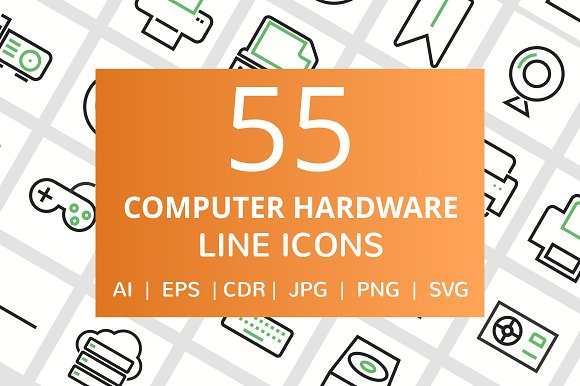 55 Computer Hardware Line Icons