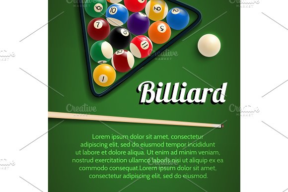 Billiards 3D Poster With Green Table Ball And Cue