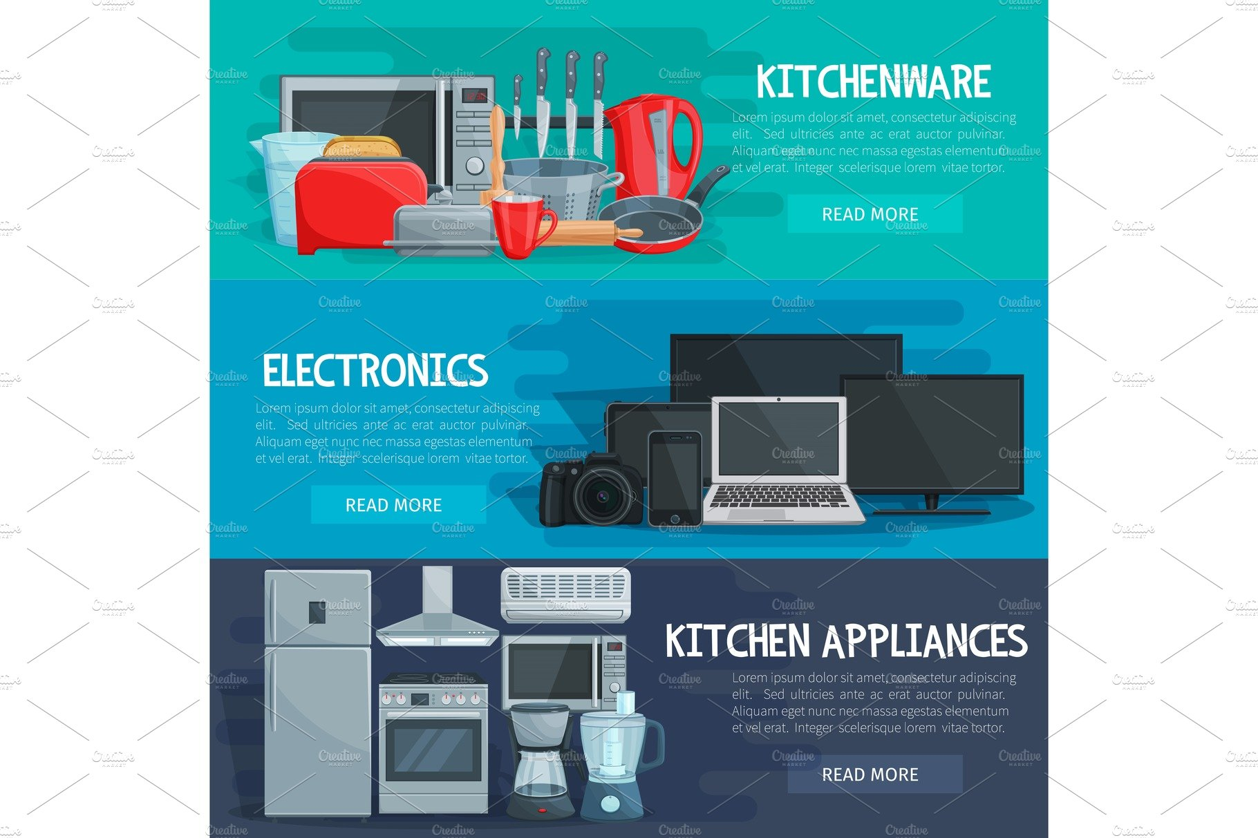Home Appliance Banner Of Kitchenware Electronics Illustrations