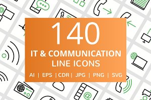 140 IT & Communication Line Icons