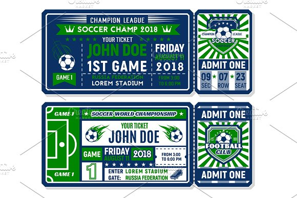 Soccer Ticket For Football Championship Match