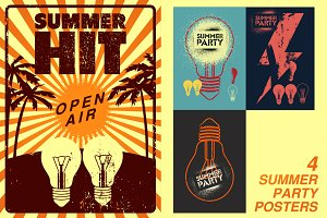 Summer Party grunge poster.