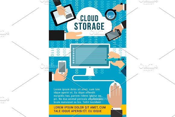 Cloud Storage Flat Banner Of Computing Technology