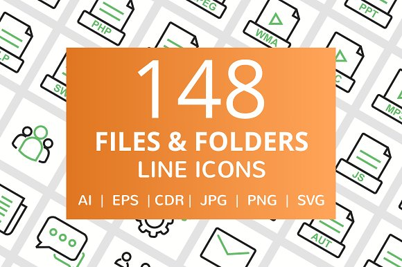 148 Files Folders Line Icons