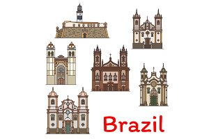 Popular travel landmark of Brazil thin line icon