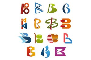 Letter B icon for abstract business identity font
