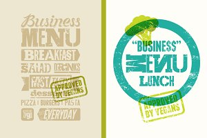 Vegan business typographic menu.
