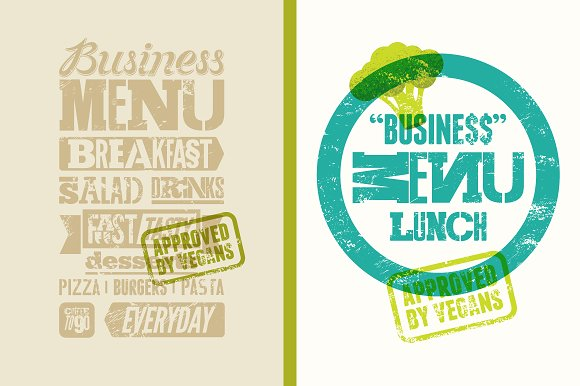 Vegan Business Typographic Menu