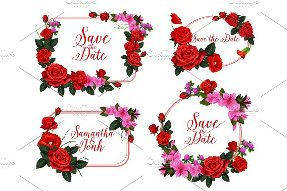 Wedding invitation card with red flower frame ~ Illustrations ...