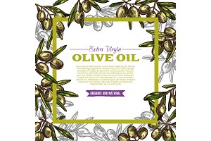 Olive oil label with green fruit and leaf frame