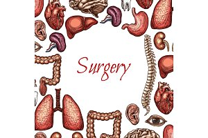Surgery poster with human organ, body parts sketch
