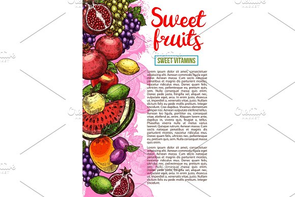 Fruit And Berry Banner With Natural Farm Product
