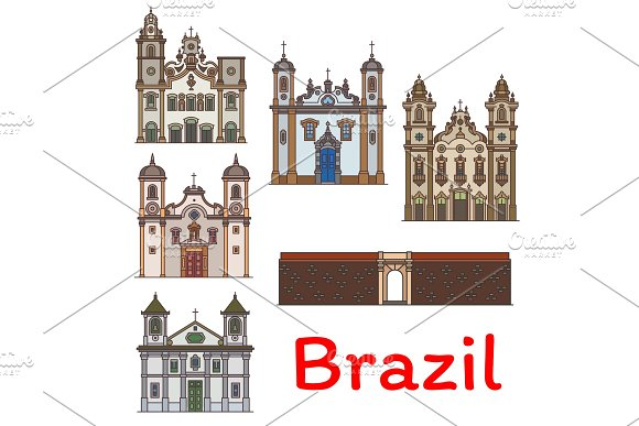 Brazilian Travel Landmark Icon For Tourism Design