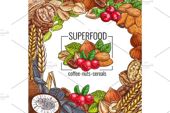 Superfood Poster With Nut Cereal Seed And Bean