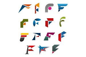 Business corporate identity symbol of letter F