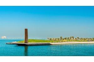 Steel Obelisk in Mia Park at Museum of Islamic Art in Doha, Qatar