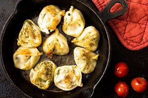 Fried Russian pelmeni