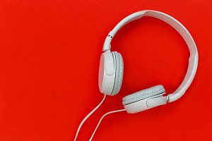 Music headphones red background