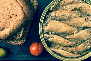 Cans of smoked sardines