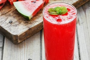 Watermelon smoothie on wood background and healthy for you