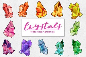 Watercolor CRYSTALS Graphic Bundle