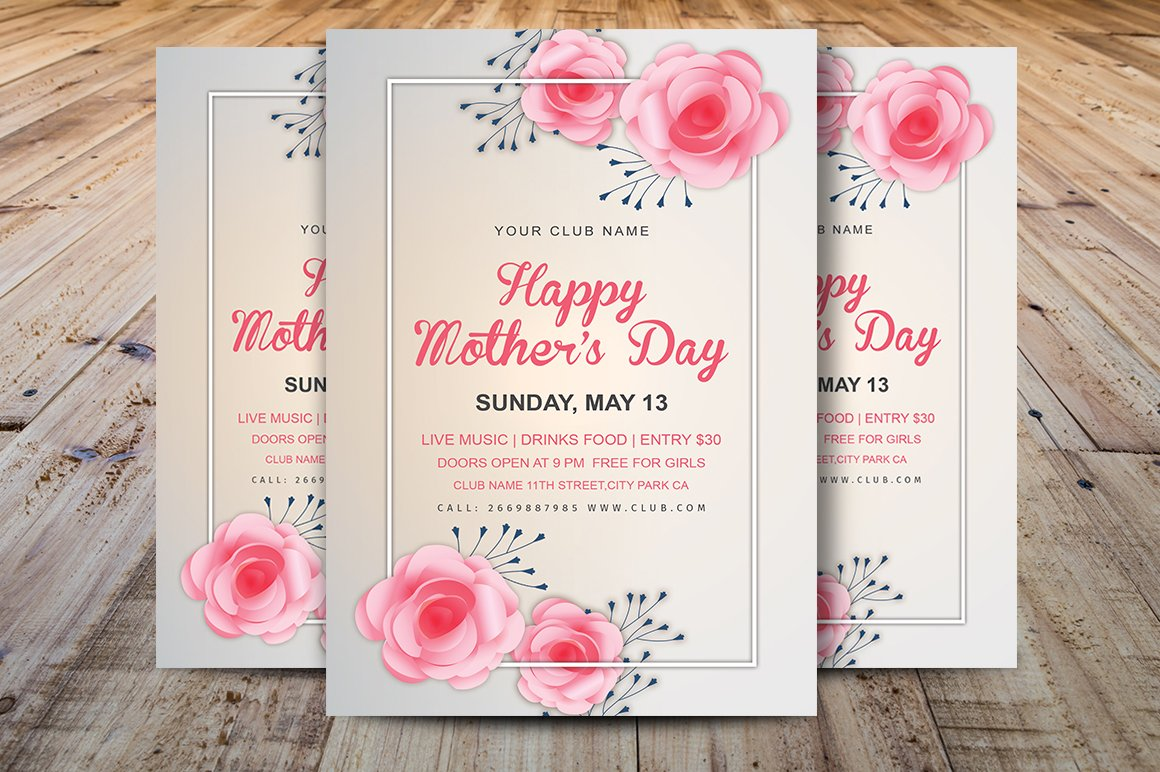 mother s day invitation template flyer templates creative market