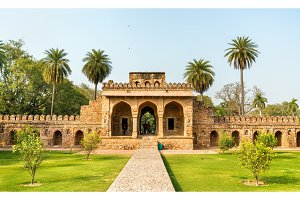 Entrance of Isa Khan Tomb in Delhi, India