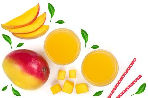Mango juice and fruit isolated on white background with copy space for your text. Top view. Flat lay