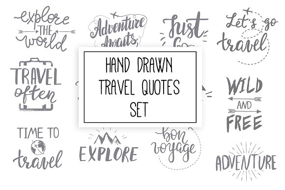Hand Drawn Travel Quotes