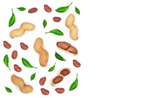 Peanuts decorated with green leaves isolated on white background, top view. Flat lay pattern