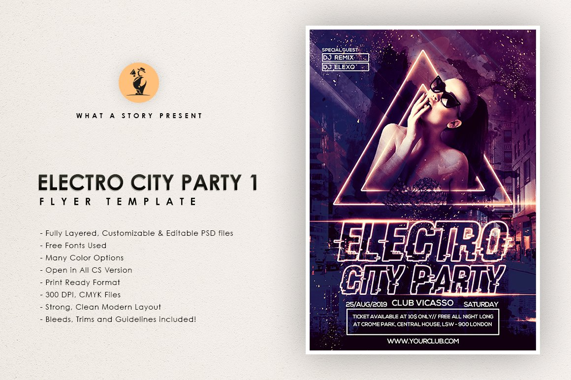Electro City Party 1 ~ Flyer Templates ~ Creative Market