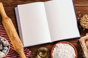 Ingredients for baking with notebook