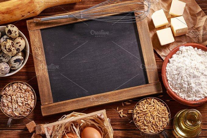 Ingredients for baking. Top view. - Food & Drink