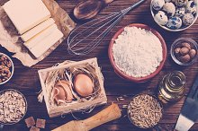 Ingredients for baking. Top view.