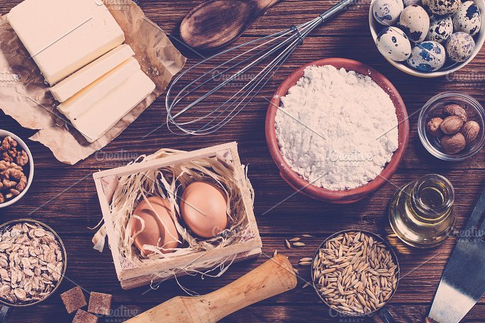 Ingredients for baking. Top view. - Food & Drink