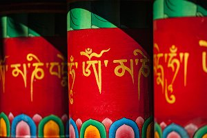 Buddhist prayer wheels in Mcleodganj, India