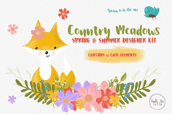 Fox And Flowers Illustrations